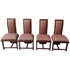 Frank Lloyd Wright Set of 4 Chairs, Plain Cherrywood, 1950