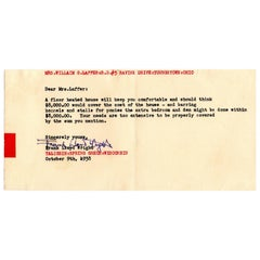 Frank Lloyd Wright Signed Letter, Original Signature, 1938