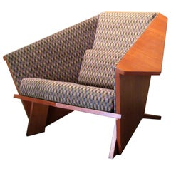 Frank Lloyd Wright Style Origami Lounge Chair, 1980s