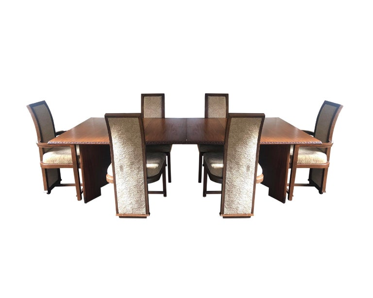 Rare complete original condition Frank Lloyd Wright Taliesen dining table and chair set (for 6), mahogany, 1955, Signed. Manufactured by Heritage Henredon. This set has been together since 1955 and I'd prefer for it to remain as such moving