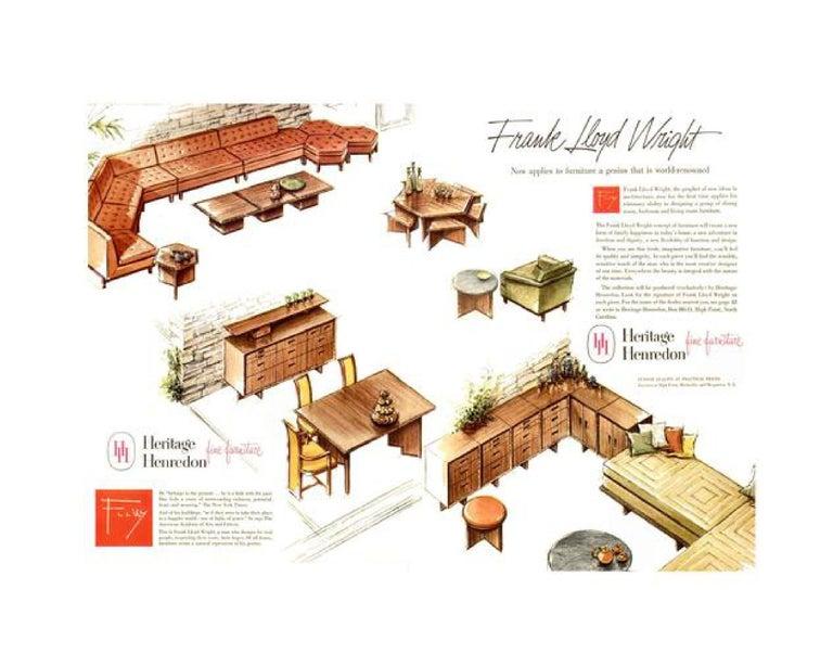 Mission Frank Lloyd Wright Taliesin Complete Mahogany Dining Set 1955 Heritage-Henredon