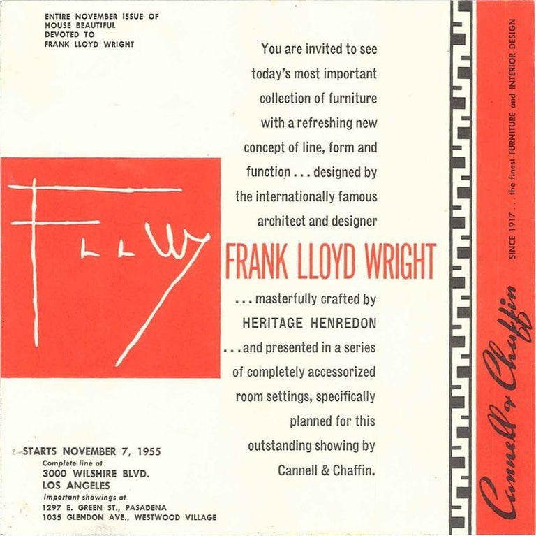 Mid-20th Century Frank Lloyd Wright Taliesin Complete Mahogany Dining Set 1955 Heritage-Henredon