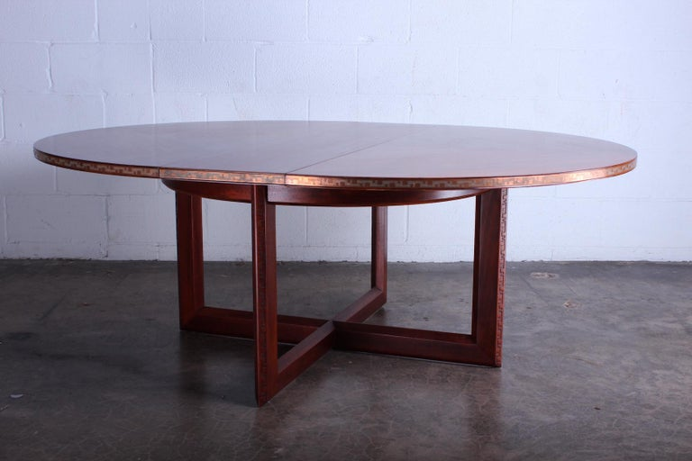 Frank Lloyd Wright Taliesin Game Table with Leaf In Good Condition For Sale In Dallas, TX