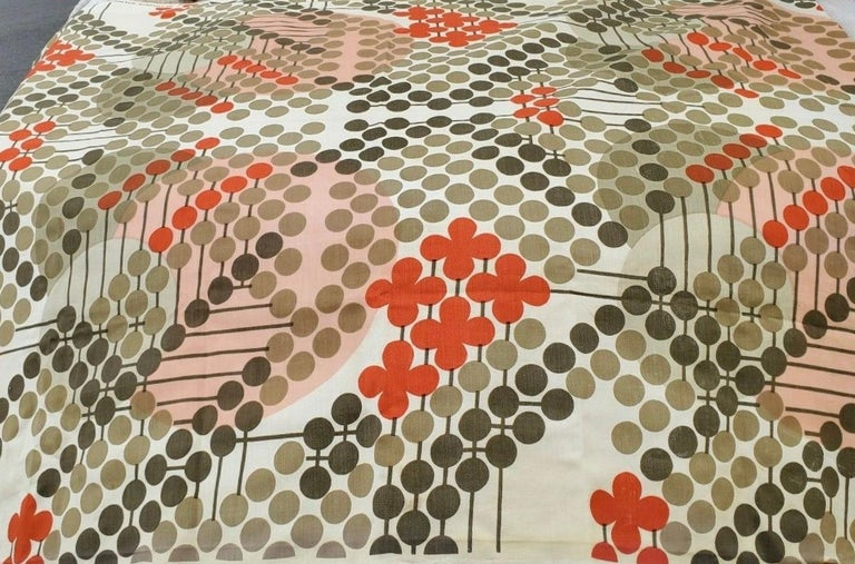 Mid-Century Modern Frank Lloyd Wright Taliesin Large Linen Textile Swatch 1955 Signed, Schumacher For Sale