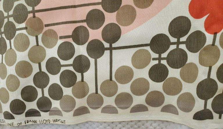 20th Century Frank Lloyd Wright Taliesin Large Linen Textile Swatch 1955 Signed, Schumacher For Sale