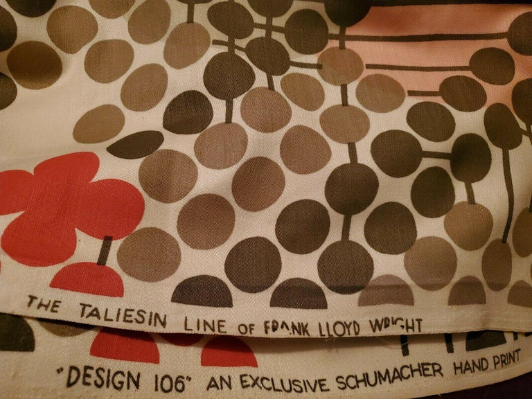 Frank Lloyd Wright Taliesin Large Linen Textile Swatch 1955 Signed, Schumacher For Sale 2