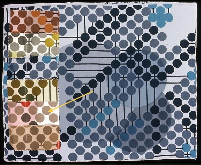 Frank Lloyd Wright Taliesin Large Linen Textile Swatch 1955 Signed, Schumacher For Sale 3
