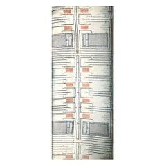 Frank Lloyd Wright Taliesin Linen Textile Swatch 1955 Design 105 Schumacher, Red