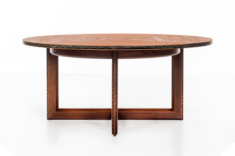 Mid-Century Modern Frank Lloyd Wright Taliesin Low Round Dining Table For Sale