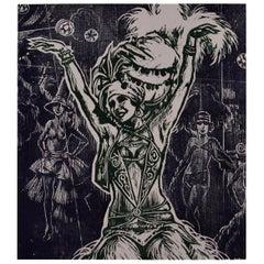 "Frank Martin Signed Limited Edition British Woodcut Print ""Maened"", 1969"