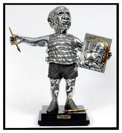 FRANK MEISLER Signed BRONZE Sculpture PORTRAIT OF PICASSO Original Art Silver