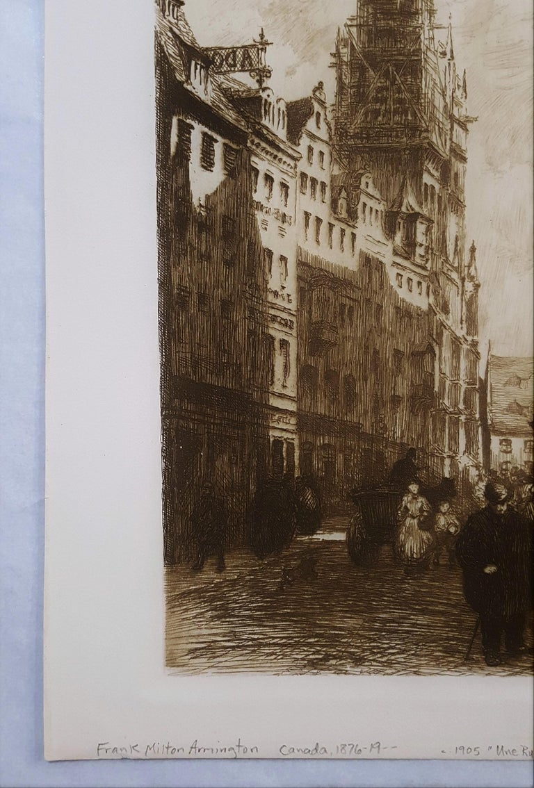 Une Rue a Nuremberg - Impressionist Print by Frank Milton Armington