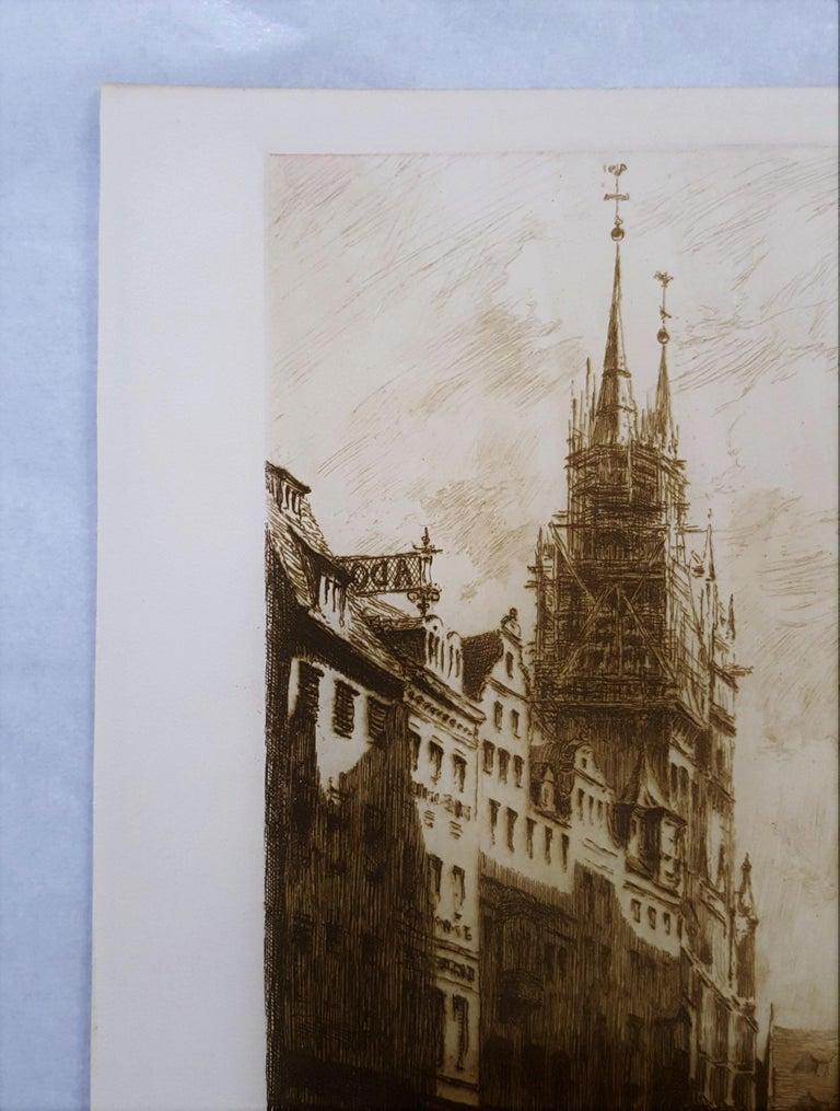 Une Rue a Nuremberg - Brown Landscape Print by Frank Milton Armington
