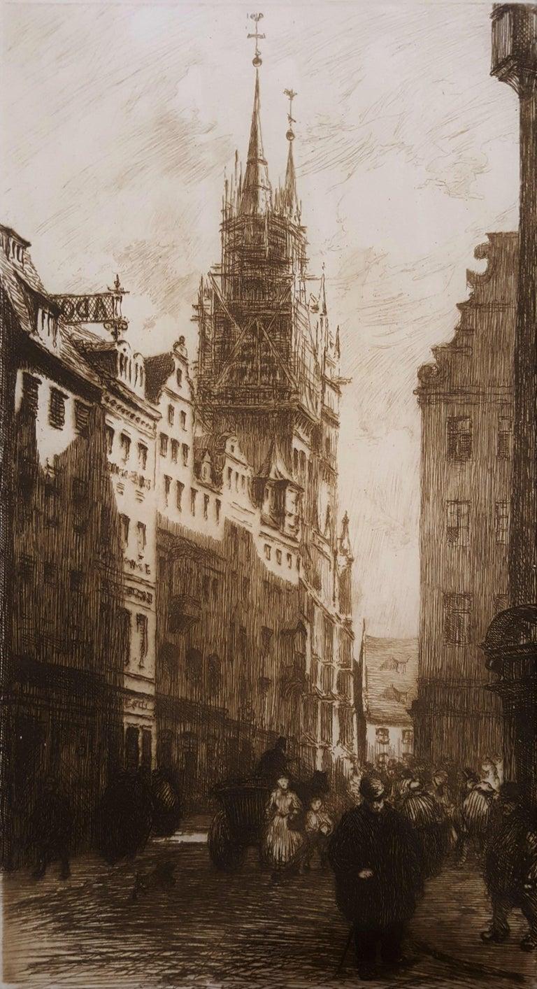 Frank Milton Armington Landscape Print - Une Rue a Nuremberg