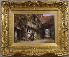 19th Century genre oil painting of a woman & hunter outside a cottage