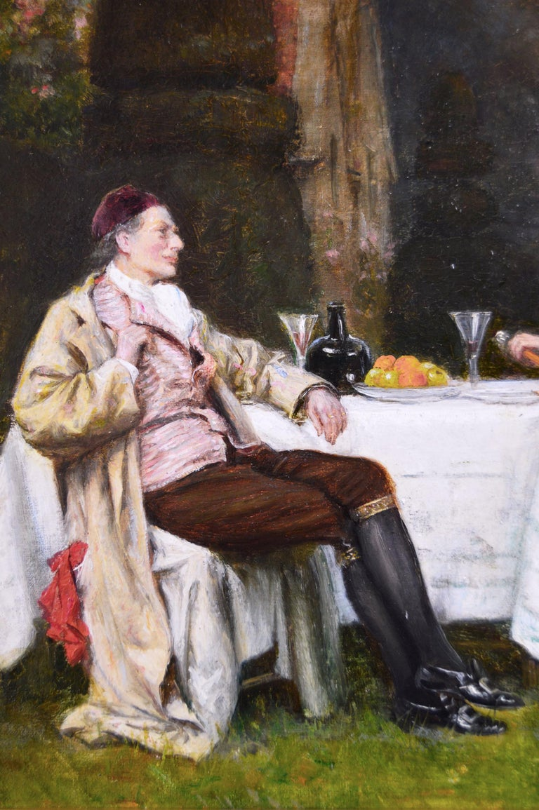 19th Century genre oil painting of two gentlemen in a garden  - Brown Figurative Painting by Frank Moss Bennett