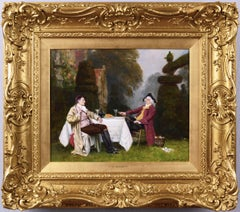 19th Century genre oil painting of two gentlemen in a garden