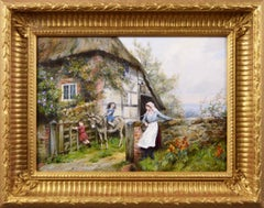 Genre oil painting of a child riding a donkey near a cottage