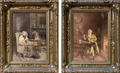 Pair of English Portrait Interiorscape Oil Paintings by Frank Moss Bennett