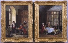 Pair of genre historical oil paintings of men drinking