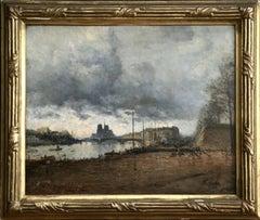 Paris - 19th Century Oil, Figures by River Seine, Landscape by Frank Myers Boggs