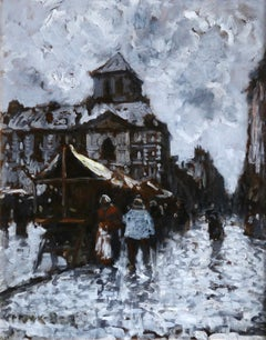 Figures in a market in the rain - French Impressionist Oil by Frank Myers Boggs