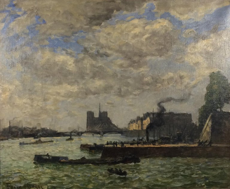 Frank Myers Boggs (1855 - 1926) Notre Dame and Le Quai Henri IV, Paris Oil on canvas 24 x 28 3/4 inches Signed lower right: Frank-Boggs; titled on plaque  Provenance: Private Collection, New York Private Collection, Massachusetts  Mixing tonalist