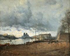 Paris - Impressionist Oil, Figures by River Landscape by Frank Myers Boggs