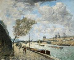 Paris - Vue de la Seine - Impressionist Oil, Riverscape by Frank Myers Boggs