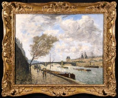 View of the Seine, Paris - Impressionist Oil, Riverscape by Frank Myers Boggs