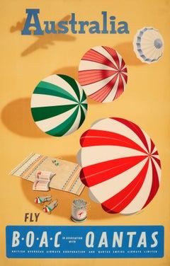Original Vintage Travel Poster For Australia Fly BOAC & Qantas - Sunshine & Surf