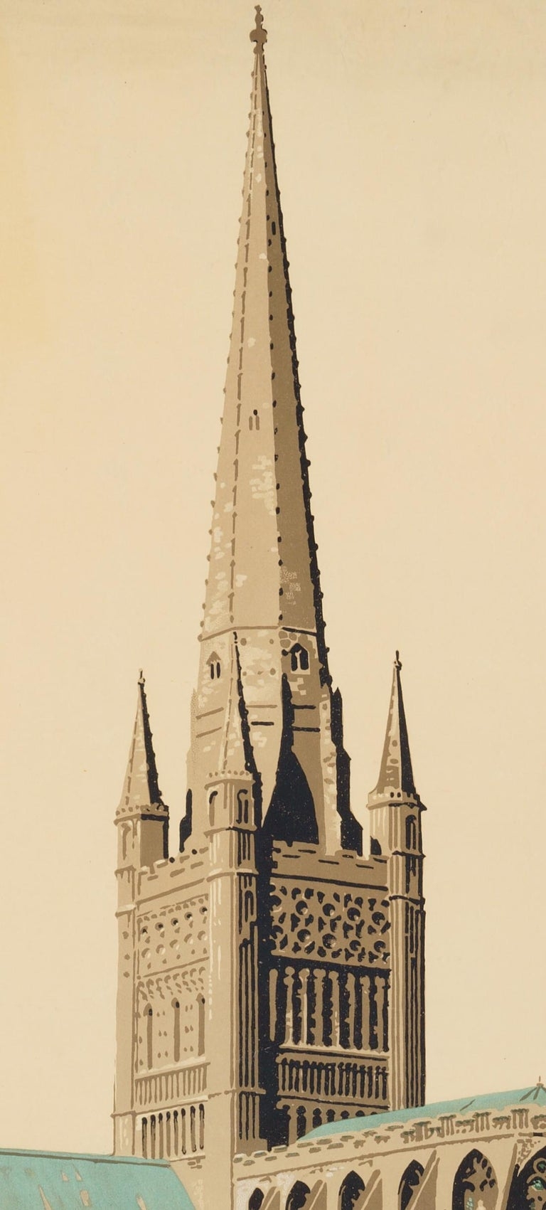 Norwich  –The Cathedral Route  Original Vintage British Travel Poster - Print by Frank Newbould