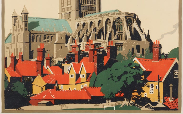 Norwich  –The Cathedral Route  Original Vintage British Travel Poster - Beige Figurative Print by Frank Newbould