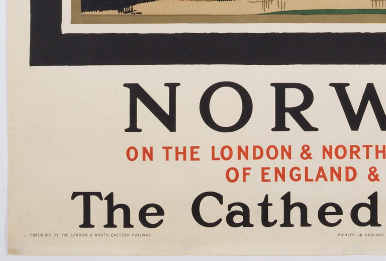 Norwich  –The Cathedral Route  Original Vintage British Travel Poster For Sale 1
