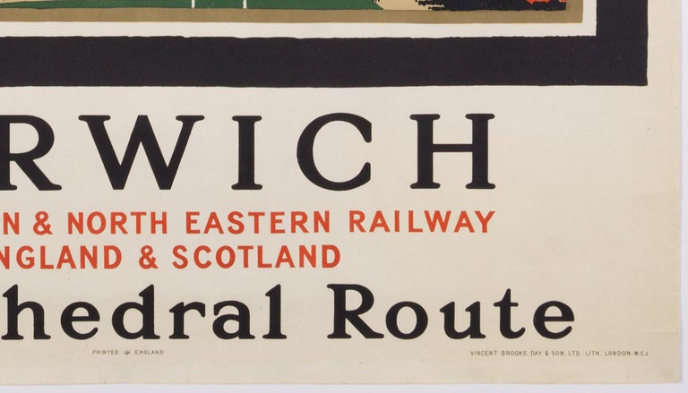 Norwich  –The Cathedral Route  Original Vintage British Travel Poster For Sale 2
