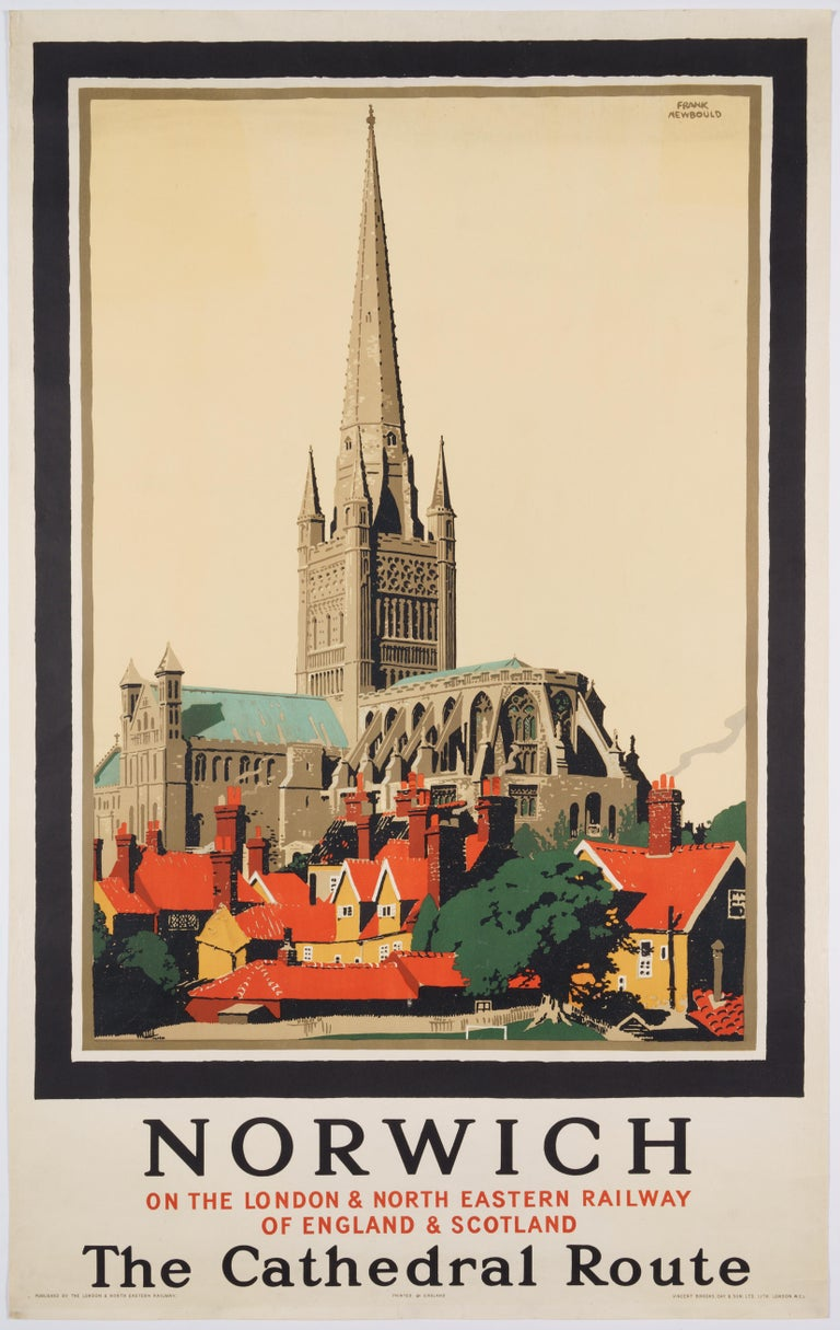 Frank Newbould Figurative Print - Norwich  –The Cathedral Route  Original Vintage British Travel Poster