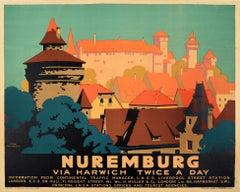 Original Vintage LNER Railway Poster By Frank Newbould For Nuremburg Via Harwich