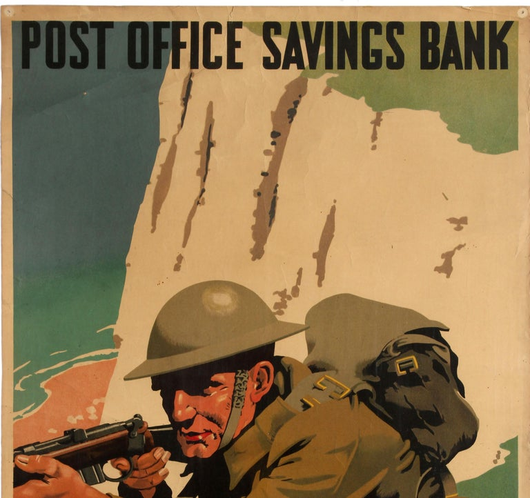 Original WWII Home Front Poster Post Office Bank Save For Defence White Cliffs - Print by Frank Newbould