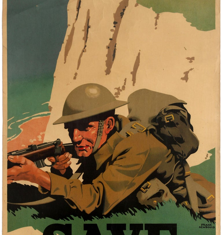 Original WWII Home Front Poster Post Office Bank Save For Defence White Cliffs - Brown Print by Frank Newbould
