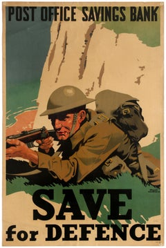 Original WWII Home Front Poster Post Office Bank Save For Defence White Cliffs