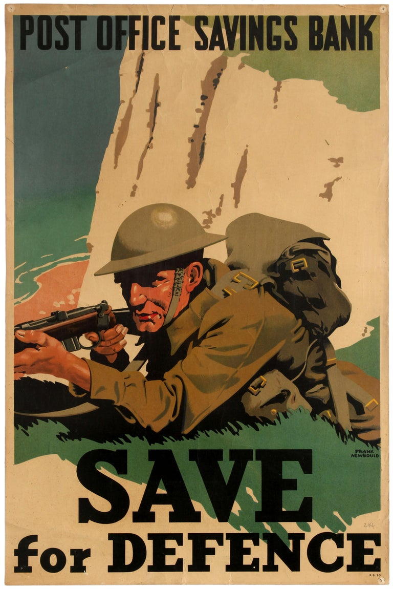 Frank Newbould Print - Original WWII Home Front Poster Post Office Bank Save For Defence White Cliffs