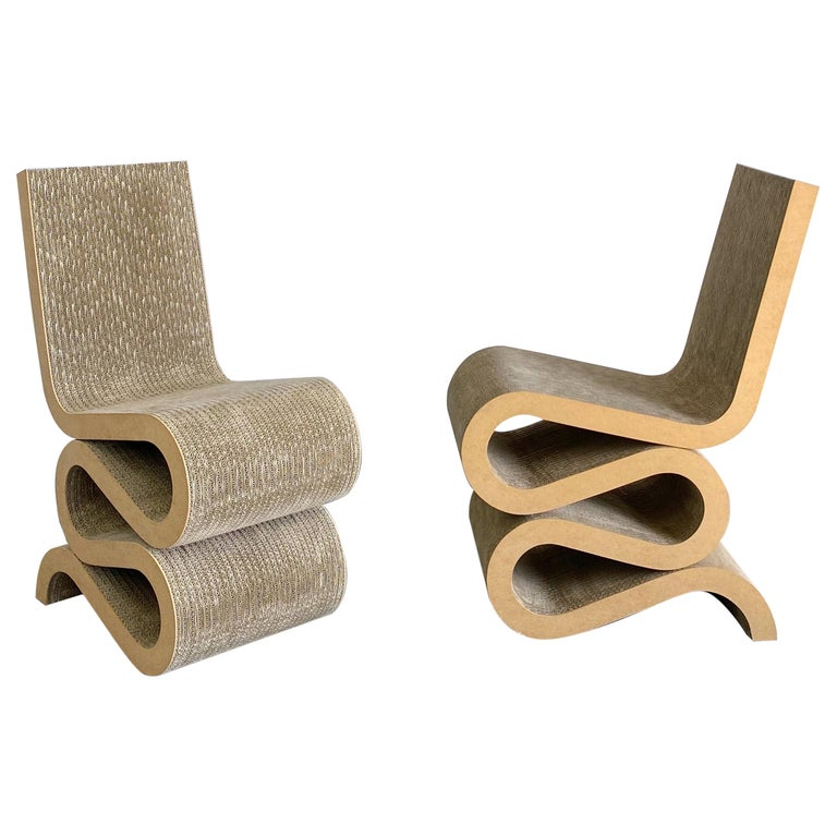 """Frank O. Gehry Easy Edges """"Wiggle"""" Chairs, 1980s, USA For Sale"""