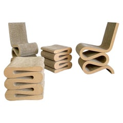 """Frank O. Gehry Easy Edges """"Wiggle"""" Chairs and Stools, 1980s, USA"""