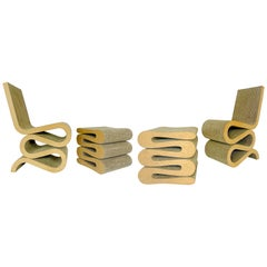 "Frank O. Gehry's ""Wiggle"" Side Chairs and Stools, Vitra 1990s"