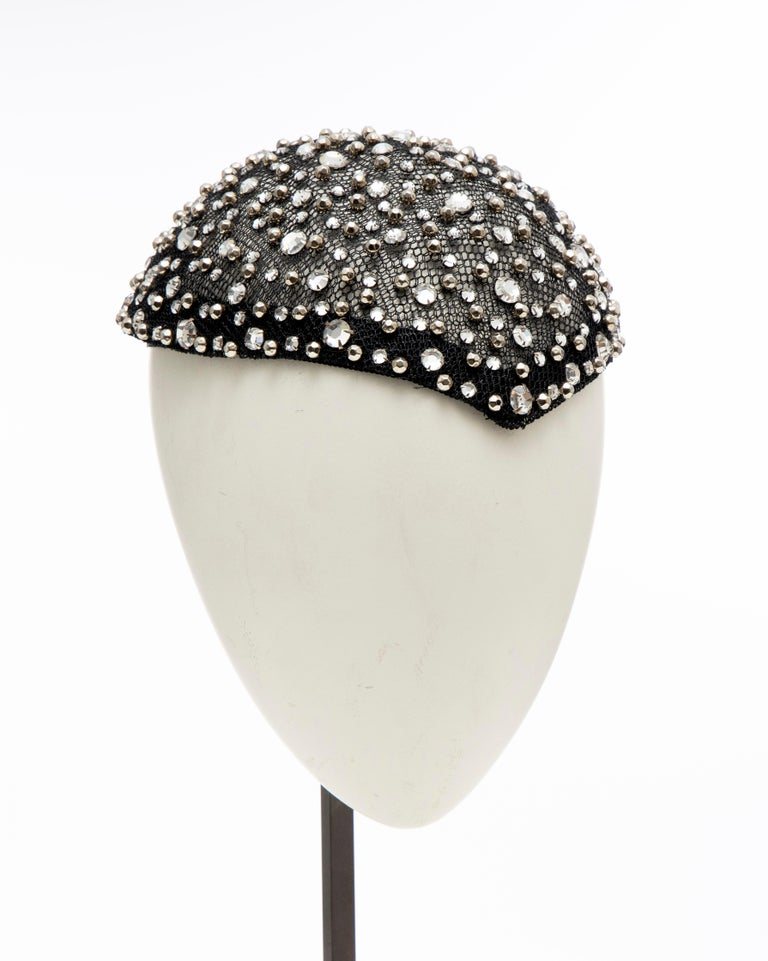 Women's or Men's Frank Olive Black Mesh Skull Cap Prong Set Swarovski Crystals, Circa: 1950's For Sale