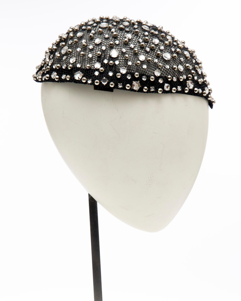 Frank Olive Black Mesh Skull Cap Prong Set Swarovski Crystals, Circa: 1950's For Sale 1