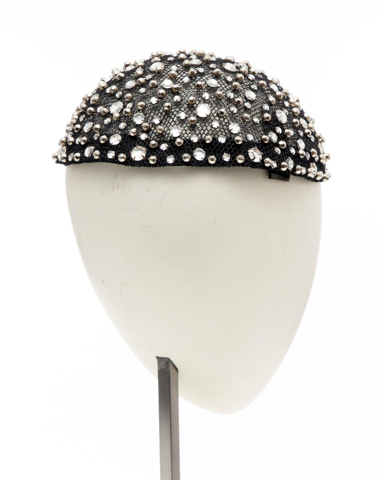 Frank Olive Black Mesh Skull Cap Prong Set Swarovski Crystals, Circa: 1950's For Sale 2