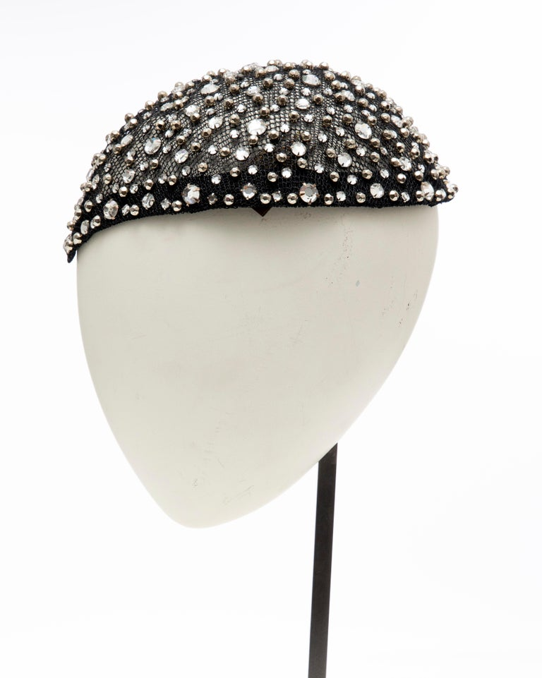 Frank Olive Black Mesh Skull Cap Prong Set Swarovski Crystals, Circa: 1950's For Sale 4