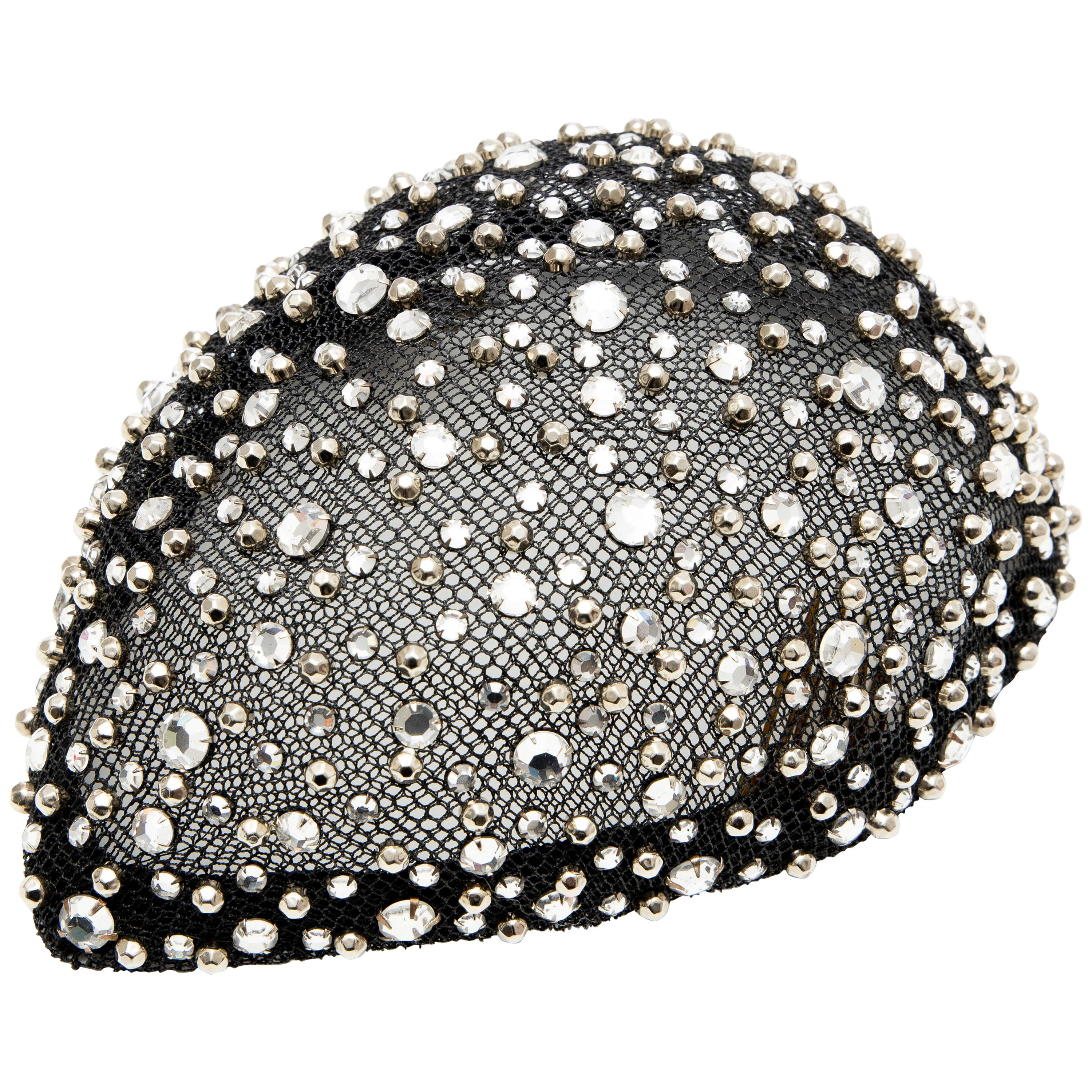 f09c671ad9f Frank Olive Black Mesh Skull Cap Prong Set Swarovski Crystals, Circa:  1950's For Sale at 1stdibs