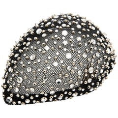Frank Olive Black Mesh Skull Cap Prong Set Swarovski Crystals, Circa: 1950's